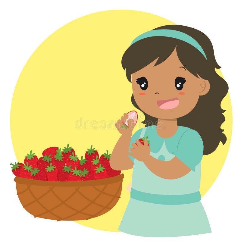 Vector lindo de la historieta de la fresa de la consumición de la muchacha ilustración del vector