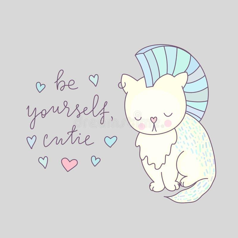 Vector lindo de la tarjeta de felicitación del gato ilustración del vector