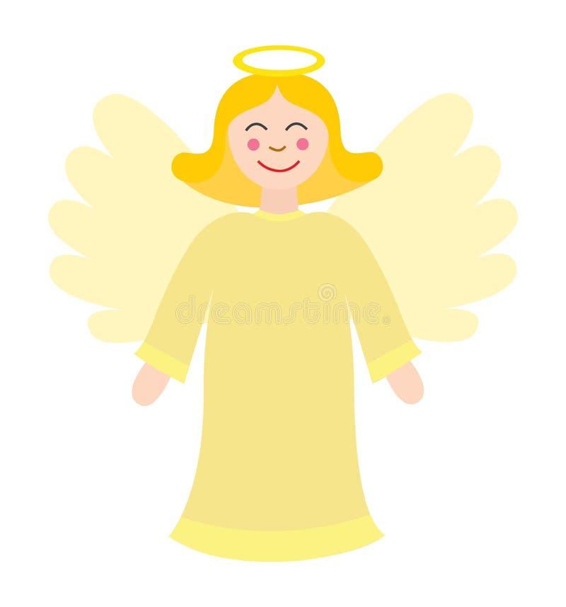 Vector lindo del ángel de la Navidad aislado en blanco stock de ilustración