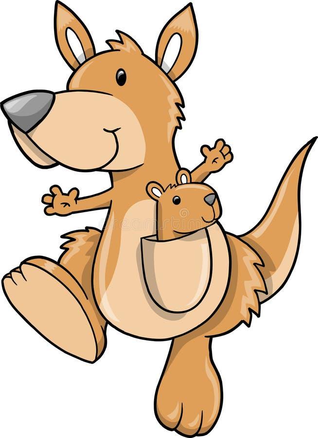 Vector lindo del canguro stock de ilustración