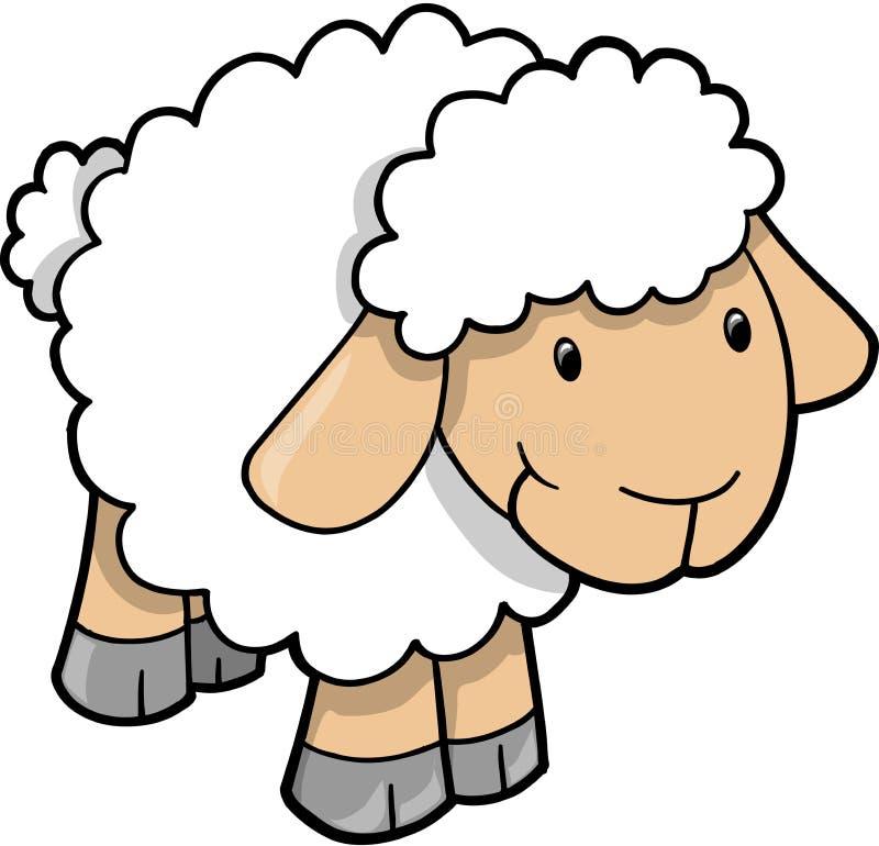 Vector lindo del cordero de las ovejas stock de ilustración