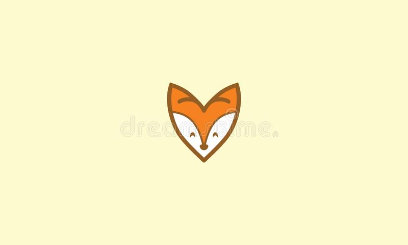 Vector lindo del icono del logotipo del zorro del amor libre illustration