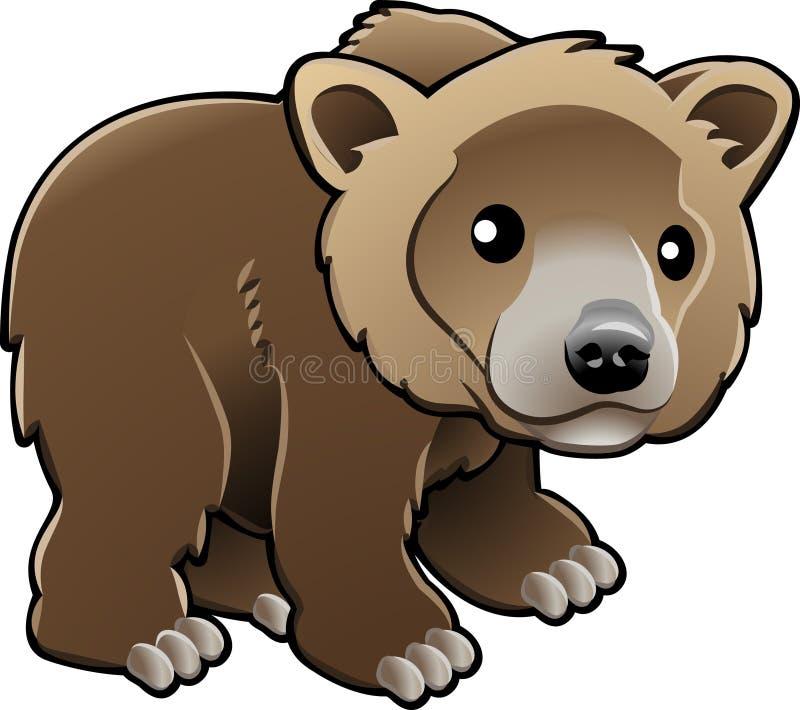 Vector lindo del oso de Brown del grisáceo ilustración del vector