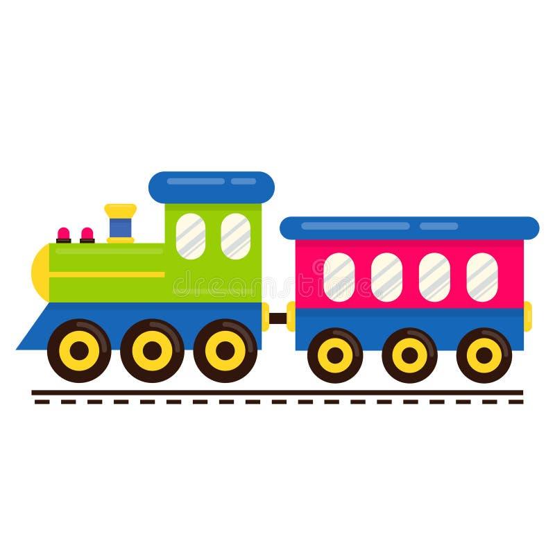 Vector lindo del tren de la historieta con el carro ferroviario en los carriles ilustración del vector