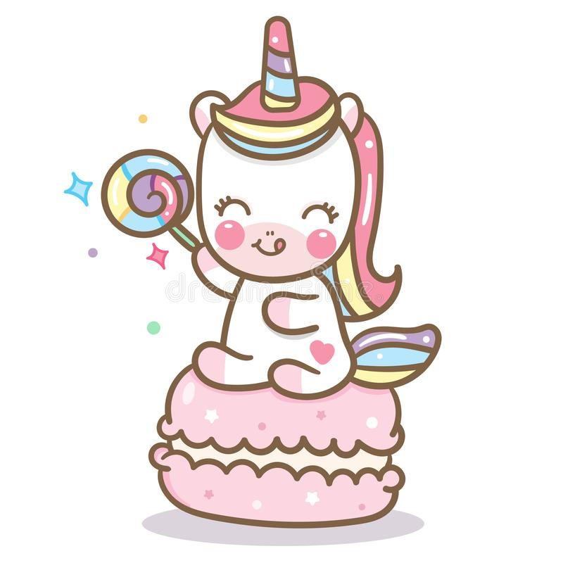 Vector lindo del unicornio con el macaron y el caramelo stock de ilustración