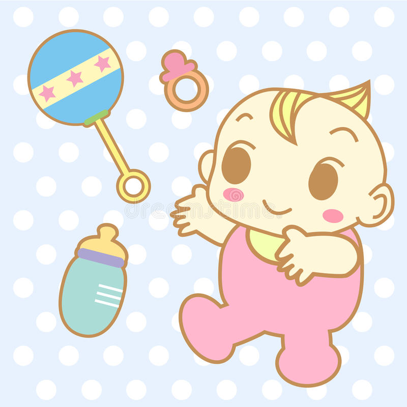 Vector lindo y juguetes de la historieta del bebé fotos de archivo