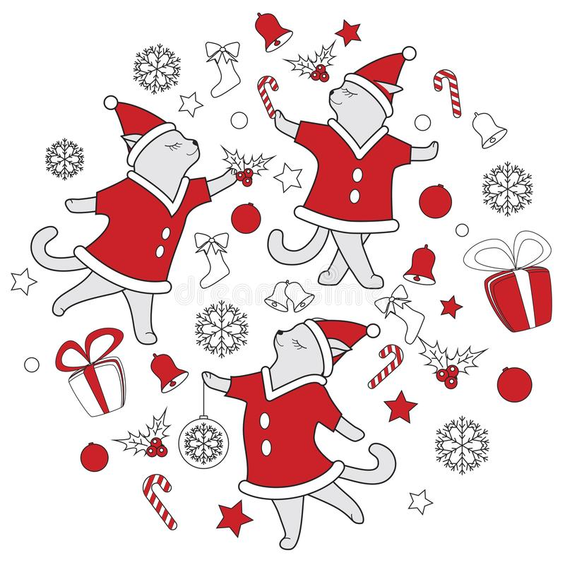 Vector line art doodle cute dancing cats illustration for christmas stock illustration