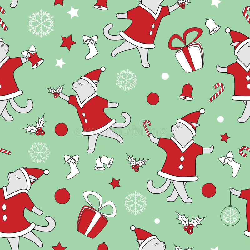 Vector line art doodle cute dancing cats illustration. Christmas seamless pattern stock illustration