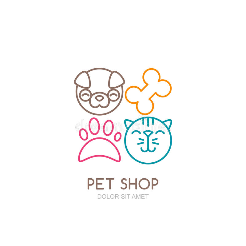 Vector line art illustration of dog head and cat muzzle. Simple logo icons design. Trendy concept for pet shop, pets care and grooming, veterinary stock illustration