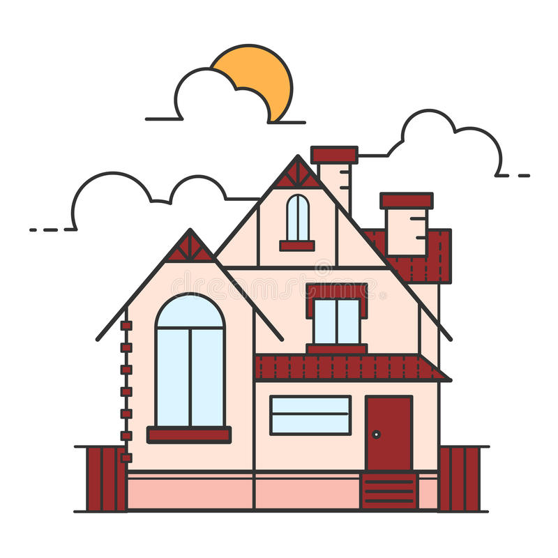 Vector line art illustration of house icon isolated on white background. royalty free stock images