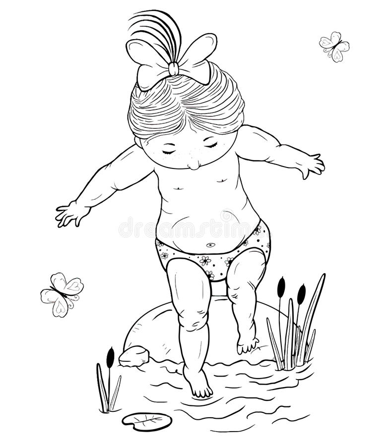 Vector line art illustration of a small girl on a stone takes a step into the water royalty free illustration