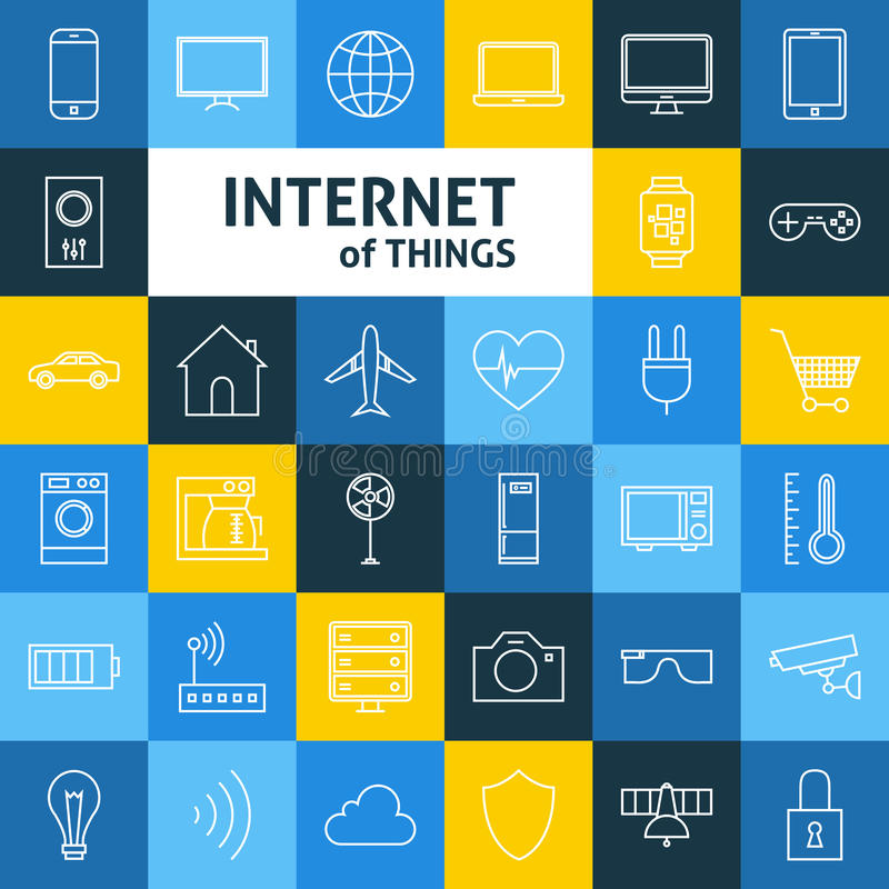 Vector Line Art Internet of Things Icons Set. Line Art Internet of Things Icons Set. Vector Set of Smart Home Technology Modern Line Icons for Web and mobile royalty free illustration