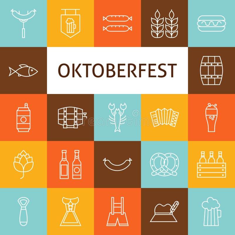 Vector Line Art Modern Oktoberfest Beer Holiday Icons Set vector illustration