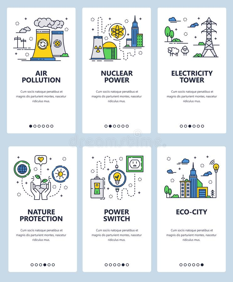 Vector line art web and mobile app template set. Vector set of mobile app onboarding screens. Air pollution, Nuclear power, Electricity tower, Nature protection vector illustration