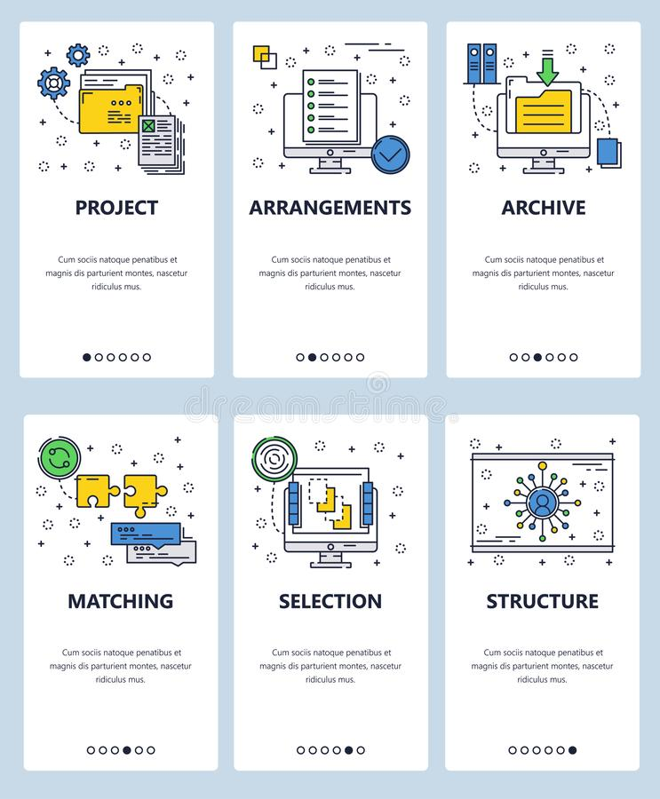 Vector line art web and mobile app template set. Vector set of mobile app onboarding screens. Project, Arrangements, Archive, Matching, Selection, Structure web royalty free illustration
