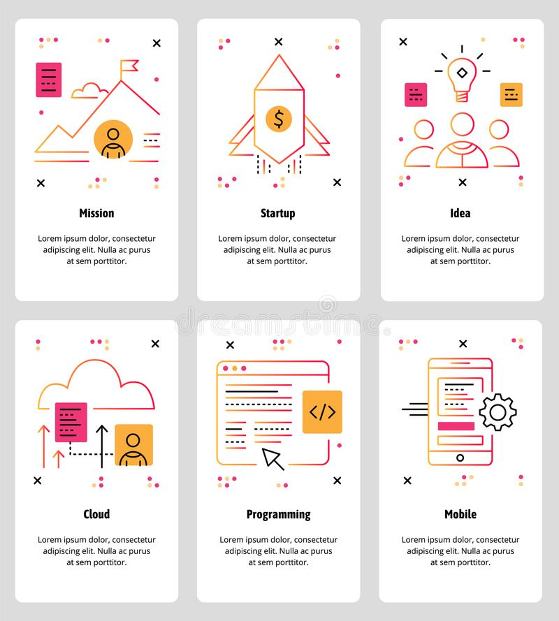 Vector line art web and mobile app template set vector illustration