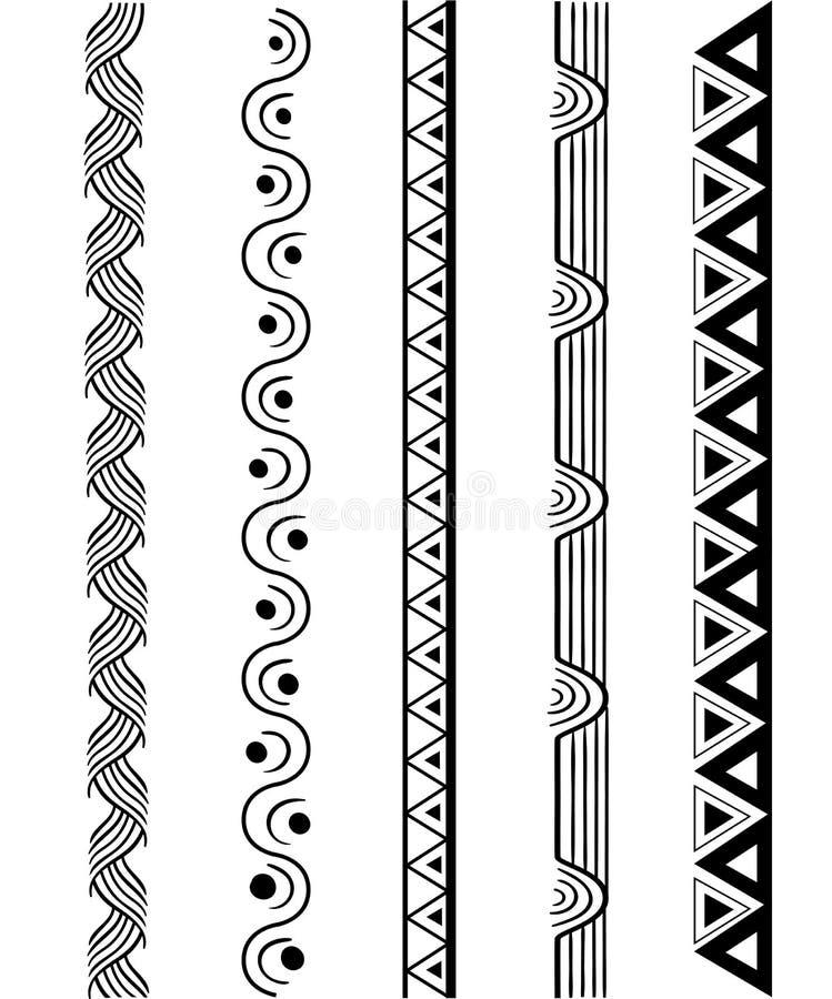Vector line border set and geometric design elements. stock illustration