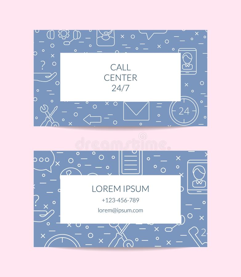 Vector line call support center icons business card template illustration stock illustration
