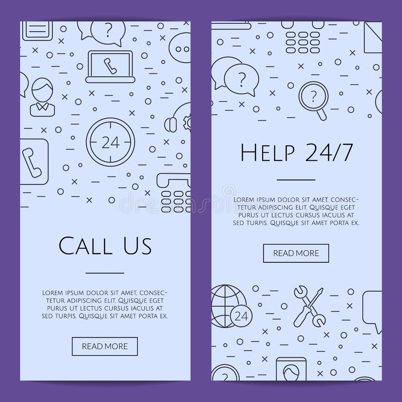 Vector line call support center icons web banner templates illustration royalty free illustration