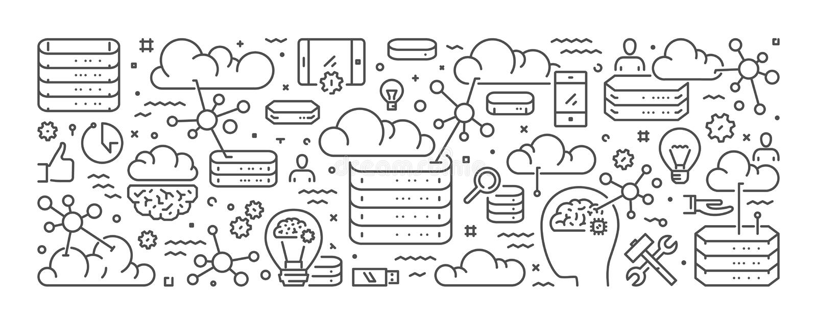 Vector line concept of cloud computing stock images
