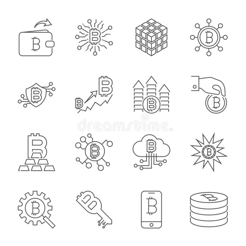 Vector Line Cryptocurrency Icons. Thin Outline Bitcoin Symbols. stock illustration