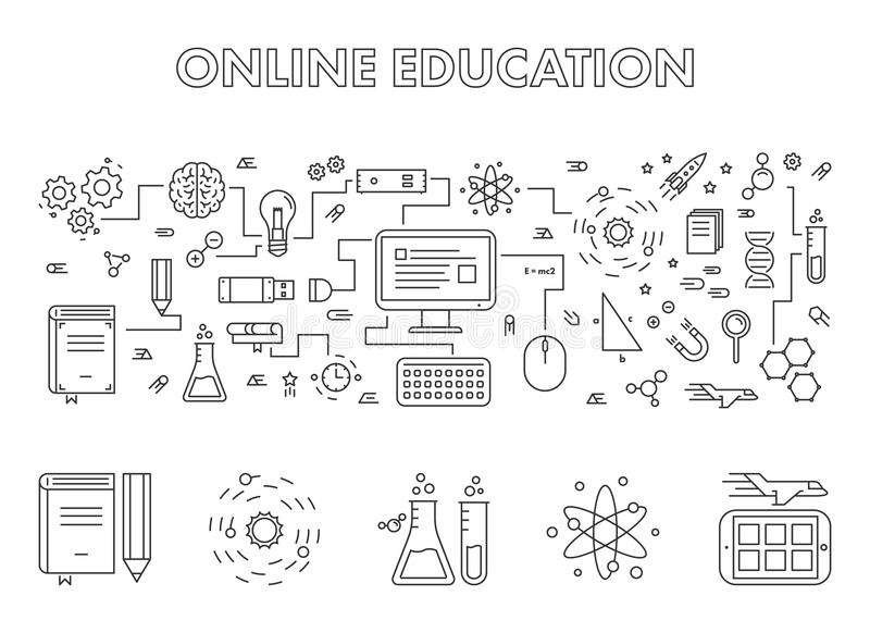 Vector line design concept web banner for online education. vector illustration