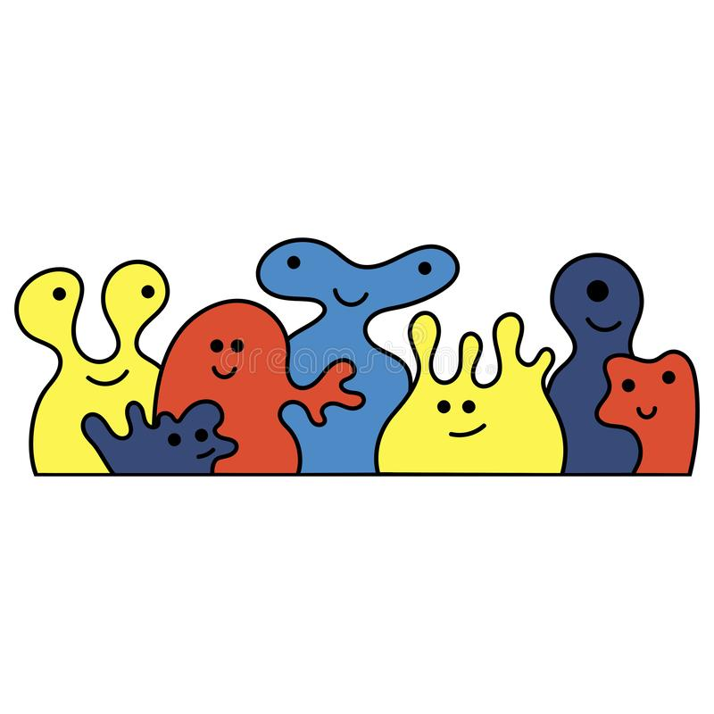 Vector line drawing. Cute monsters of bright colors . Doodle illustration vector illustration