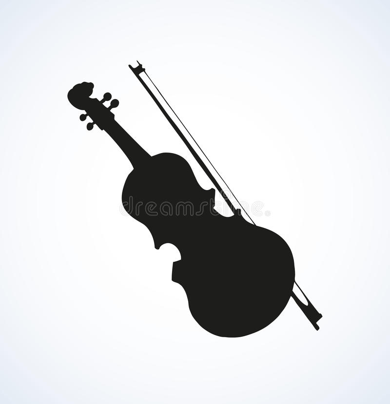 Line Drawing Violin : Vector line drawing of a violin and bow stock