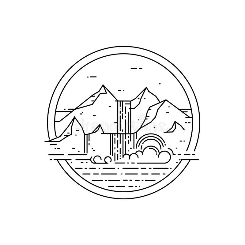 Vector line emblem with mountain landscape and waterfall. vector illustration