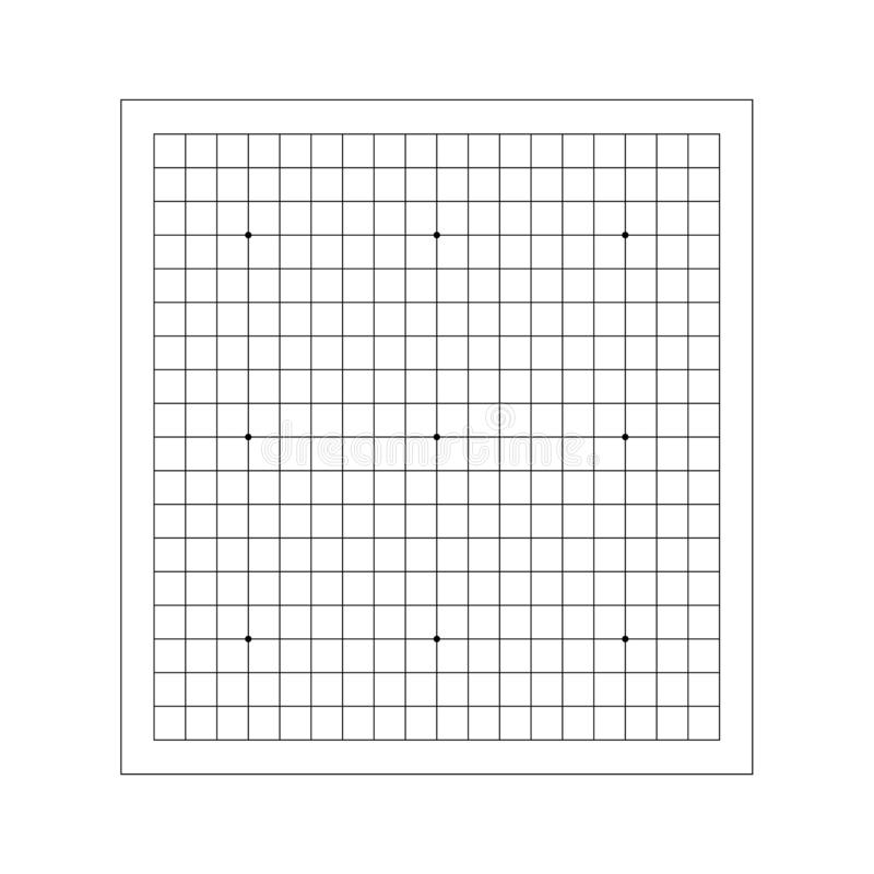 Vector line of empty goban grid. Go board game equipment stock image