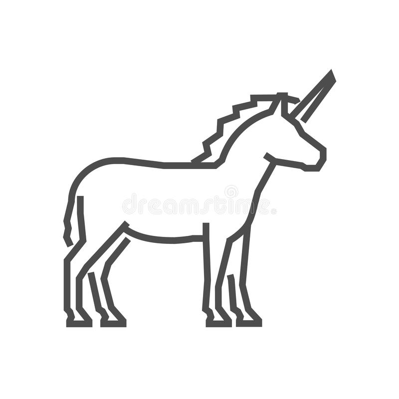Vector Line Figure Unicorn Icon Stock Illustration Illustration