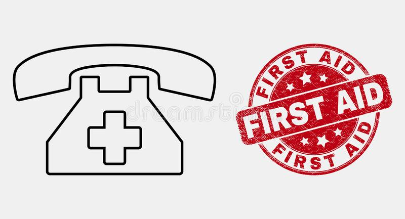 Vector Stroke First Aid Phone Icon and Distress First Aid Stamp stock illustration