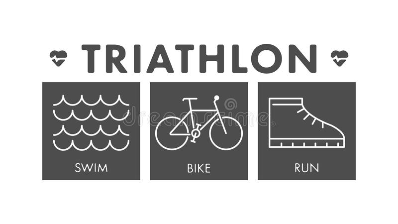 Vector line and flat triathlon logo and symbol. royalty free illustration