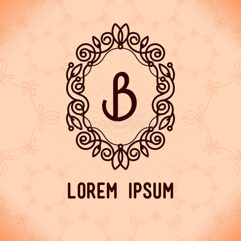 Vector line frame design elements for logos,ornament and decoration. Emblem, logo, background, frames and borders in modern style, line color, floral for you vector illustration