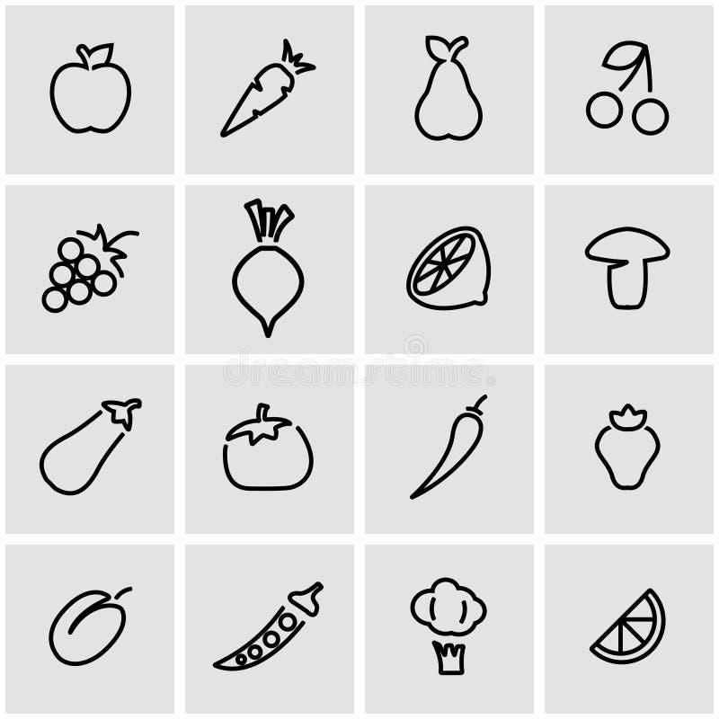 Vector line fruit an vegetablees icon set stock illustration