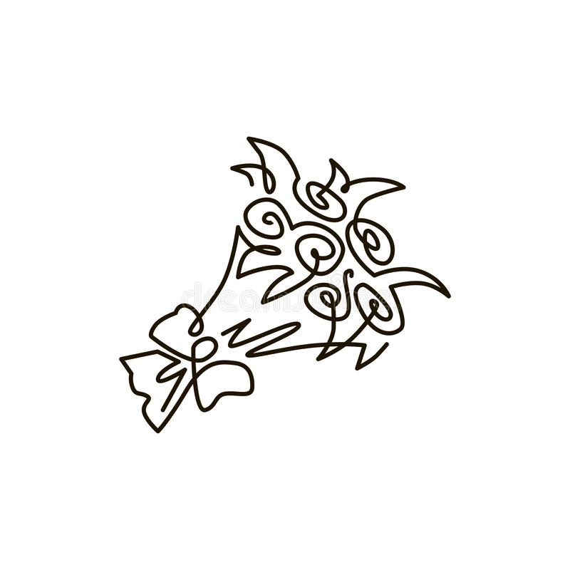 Vector Line Icon. Bouquet of flowers. One line drawing. Isolated on white background royalty free illustration