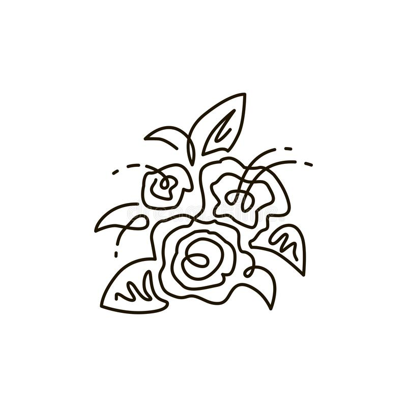 Vector Line Icon. Bouquet of flowers. Top view. One line drawing. Isolated on white background vector illustration