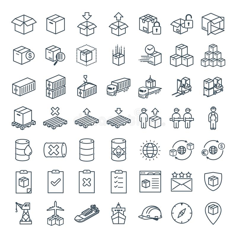 Vector line icon for Business E-commerce, Logistics, Import & Export vector illustration