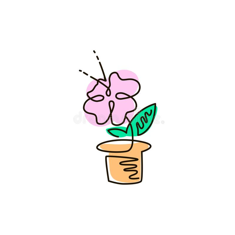 Vector Line Icon. Flower in a pot. Gardening. One line colored drawing. Isolated on white background stock illustration