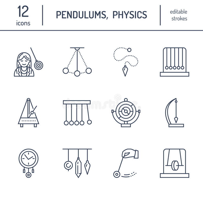 Vector line icon of pendulum types. Newton cradle, metronome, table pendulum, perpetuum mobile, gyroscope. Linear pictogram vector illustration