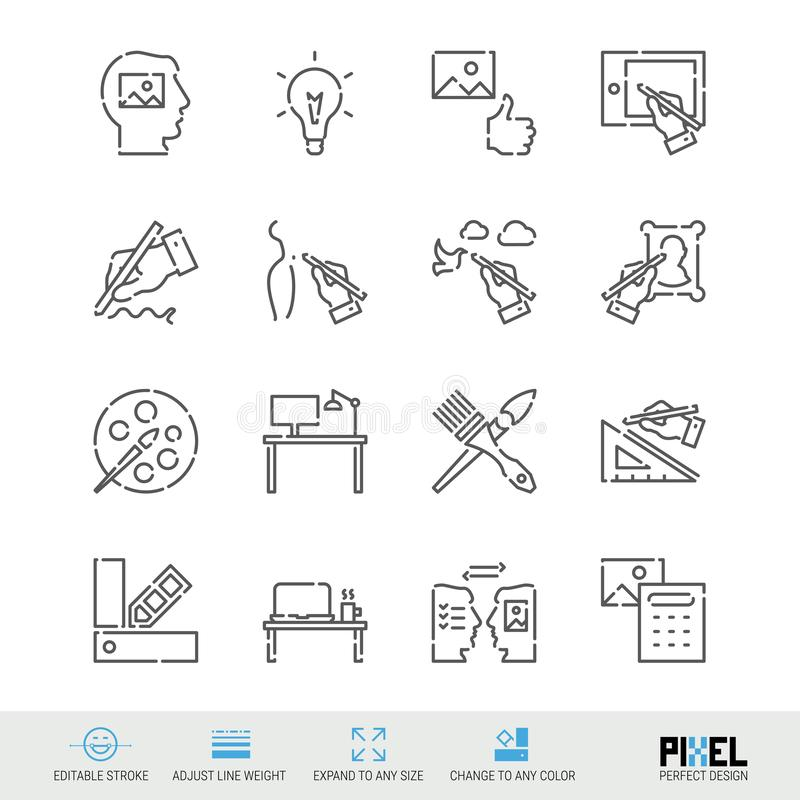 Vector Line Icon Set. Art, Design Related Linear Icons. Creativity Symbols, Pictograms, Signs. Pixel Perfect Design. Editable Stroke. Adjust Line Weight stock illustration