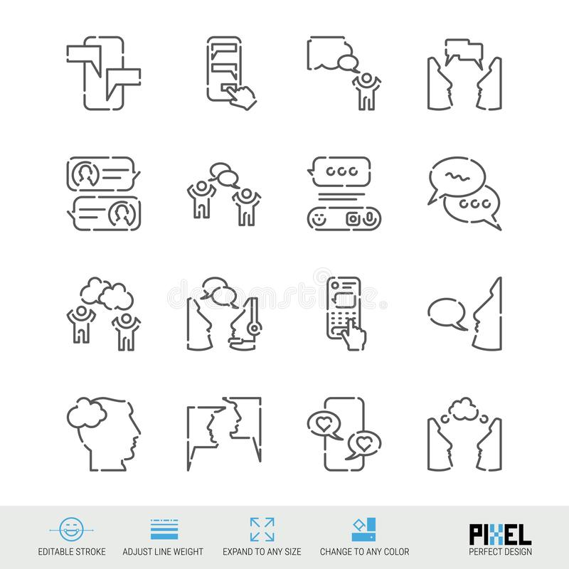 Vector Line Icon Set. Communication Related Linear Icons. Dialogue, Chat Symbols, Pictograms, Signs. Pixel Perfect Design. Editable Stroke. Adjust Line Weight stock illustration