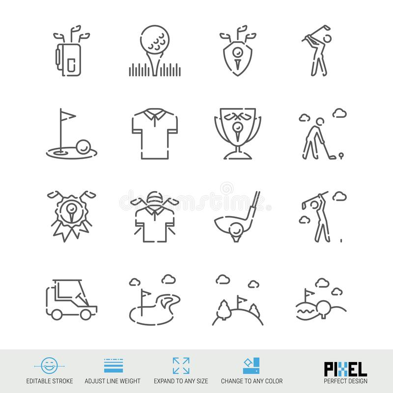 Vector Line Icon Set. Golf Related Linear Icons. Country Club Symbols, Pictograms, Signs. Pixel Perfect Design. Editable Stroke. Adjust Line Weight. Expand to royalty free illustration