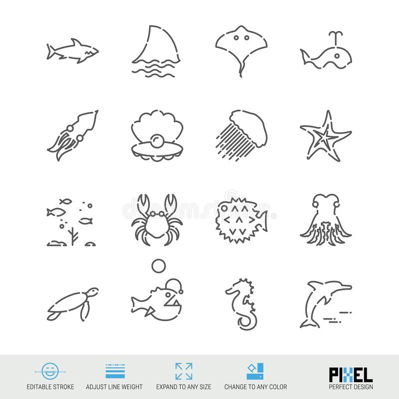 Vector Line Icon Set. Marine Life Related Linear Icons. Sea Creatures, Animals Symbols, Pictograms, Signs. Vector Line Icon Set. Marine Life Related Linear Icons stock illustration
