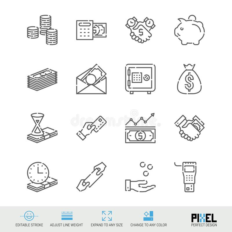 Vector Line Icon Set. Money Related Linear Icons. Finance Symbols, Pictograms, Signs. Pixel Perfect Design. Editable Stroke. Adjust Line Weight. Expand to Any stock illustration