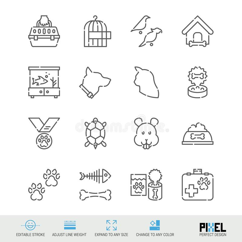 Vector Line Icon Set. Pets Related Linear Icons. Pet Supplies Symbols, Pictograms, Signs. Pixel Perfect Design. Editable Stroke. Adjust Line Weight. Expand to vector illustration