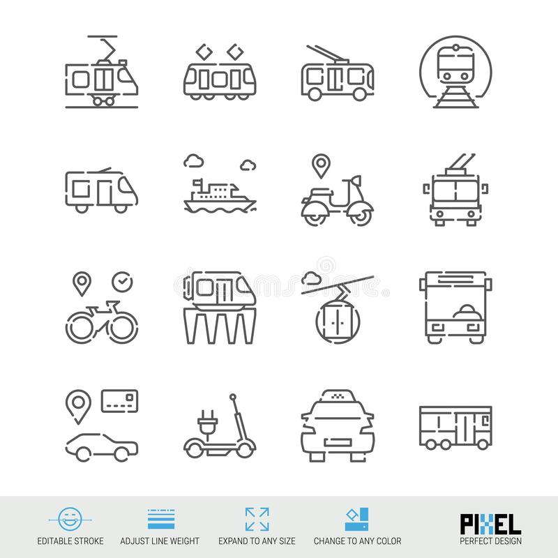Vector Line Icon Set. Public Transport Related Linear Icons. City Vehicles Symbols, Pictograms, Signs. Vector Line Icon Set. Public Transport Linear Icons. City vector illustration