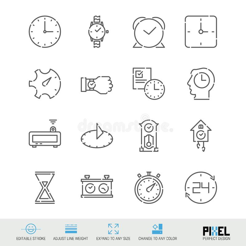 Vector Line Icon Set. Time Related Linear Icons. Clock Symbols, Pictograms, Signs. Pixel Perfect Design. Editable Stroke. Adjust Line Weight. Expand to Any royalty free illustration