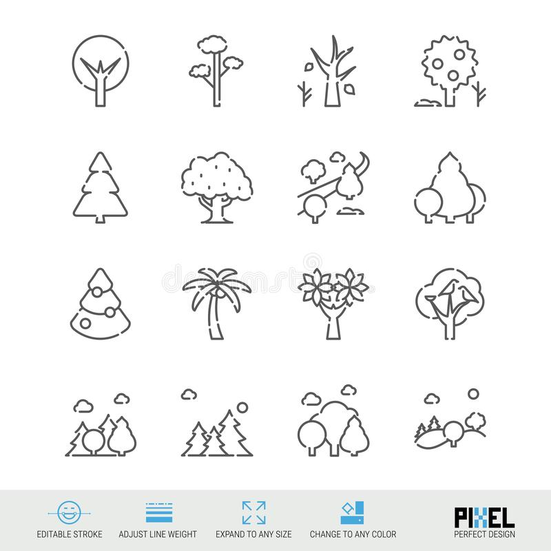 Vector Line Icon Set. Trees Related Linear Icons. Forest Symbols, Pictograms, Signs. Pixel Perfect Design. Editable Stroke. Adjust Line Weight. Expand to Any stock illustration