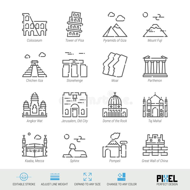Vector Line Icon Set. World Sights Related Linear Icons. Old Landmarks Symbols, Pictograms, Signs. Pixel Perfect Design. Editable Stroke. Adjust Line Weight royalty free illustration